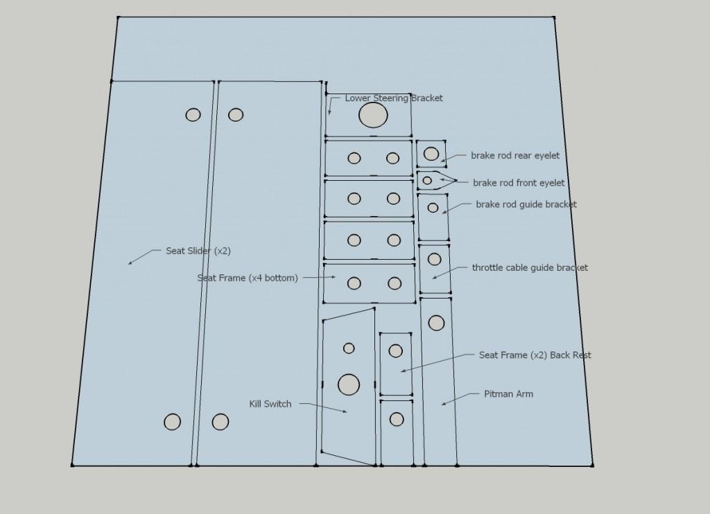 go kart material cutting diagram