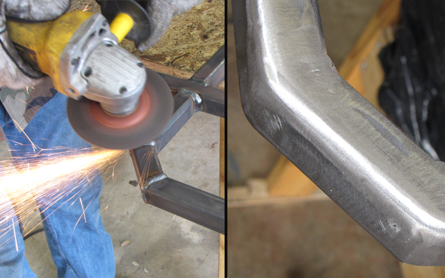 grinding down welds