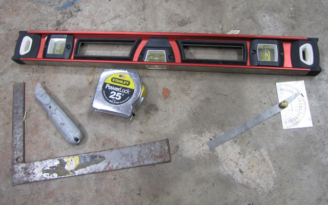level, tape measure, square, protractor, razor blade