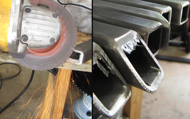 beveling edges in steel tubing with an angle grinder