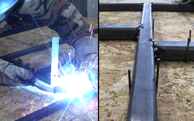 tack welding steel tubing together