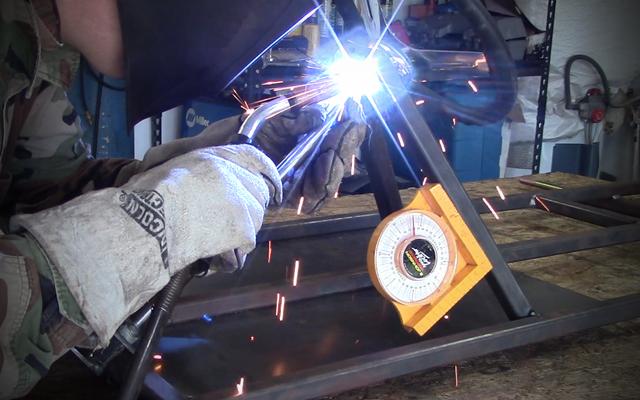 welding go kart steering colum to steering hoop