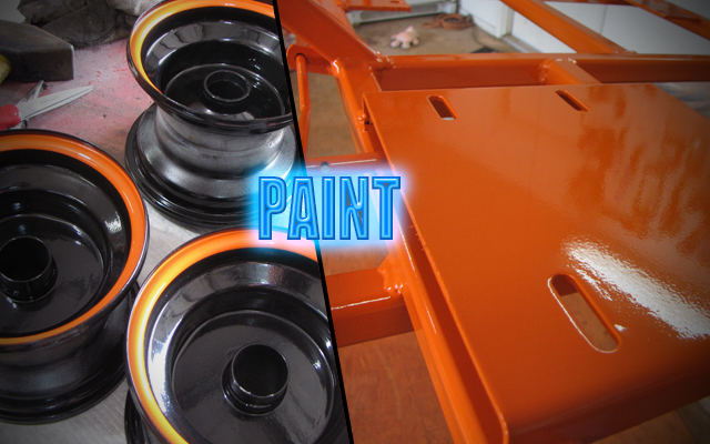 go kart rims and frame painted orange KartFab