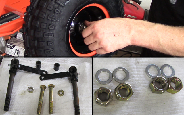 go kart tire mounting with hardware
