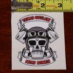 skull and piston vinyl decal sticker texas outlaw mini bikes