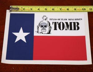 """10"""" vinyl decal sticker texas outlaw mini bikes flag"""