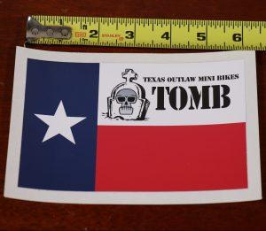 """6"""" vinyl decal sticker texas outlaw mini bikes flag"""